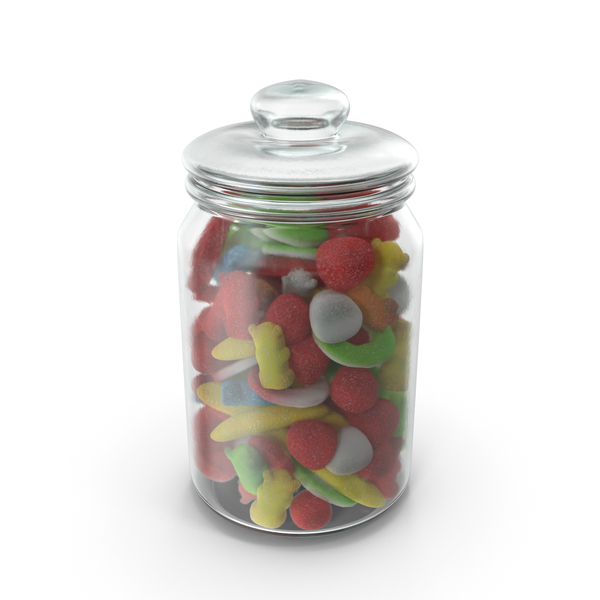 Jar With Sugar Coated Gummy Candy PNG & PSD Images
