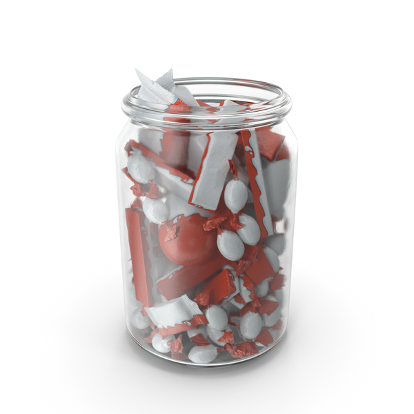 Jar with Wrapped Chocolate Candies PNG & PSD Images
