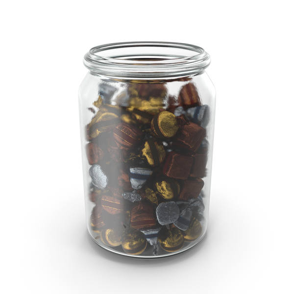 Jar with Wrapped Fancy Bonbons PNG & PSD Images