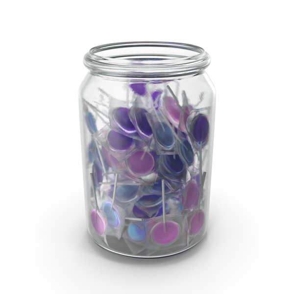 Jar With Wrapped Flat Lollipops PNG & PSD Images