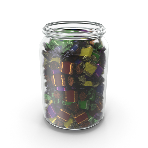 Jar with Wrapped Toffee Candy PNG & PSD Images