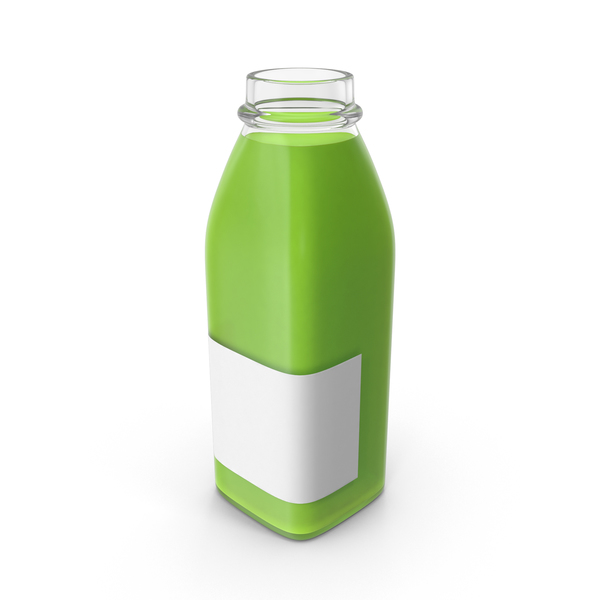Juice Bottle Mockup Green Open Object