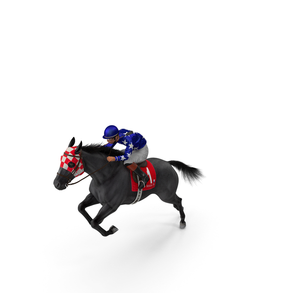 Jumping Black Racing Horse with Jokey Fur PNG & PSD Images