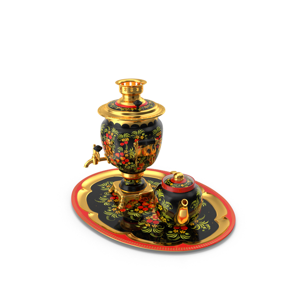 Teapot: Khokhloma Electric Samovar Set PNG & PSD Images