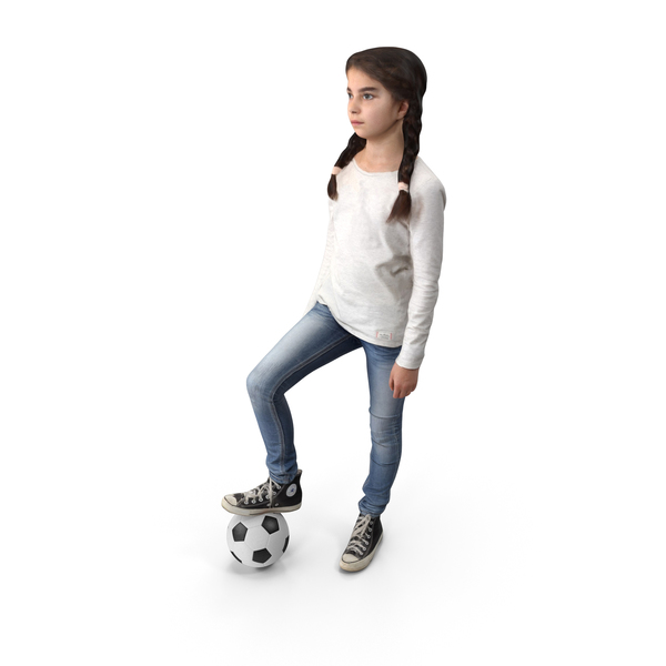 Girl: Kid Football Player Posed PNG & PSD Images