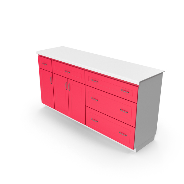 Set: Kitchen Cabinet Red White PNG & PSD Images