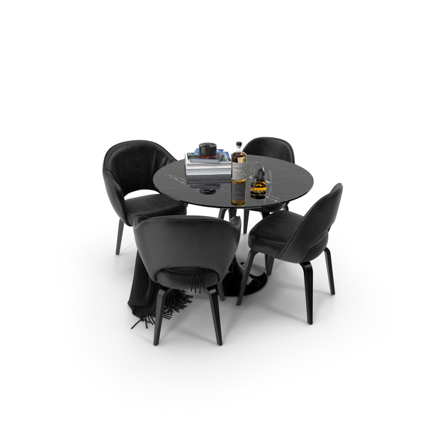 Room Set: Knoll Saarinen Round Dining Table PNG & PSD Images