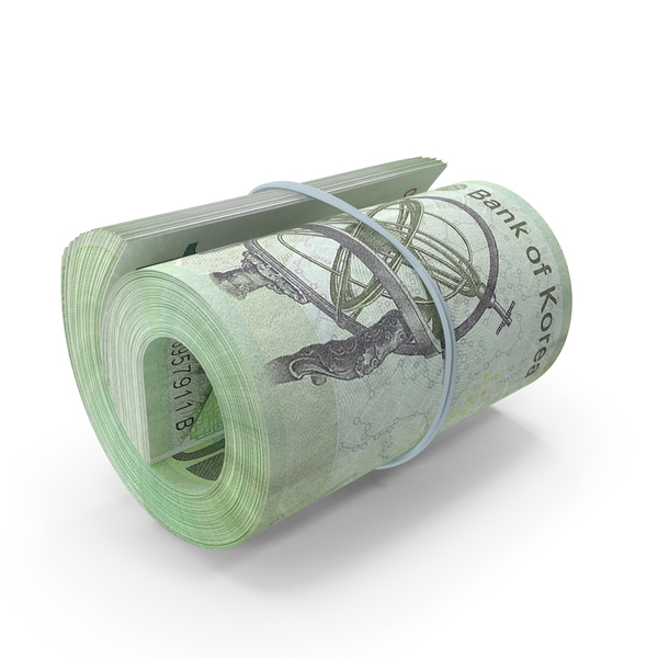 Korean Won Banknote Roll PNG & PSD Images