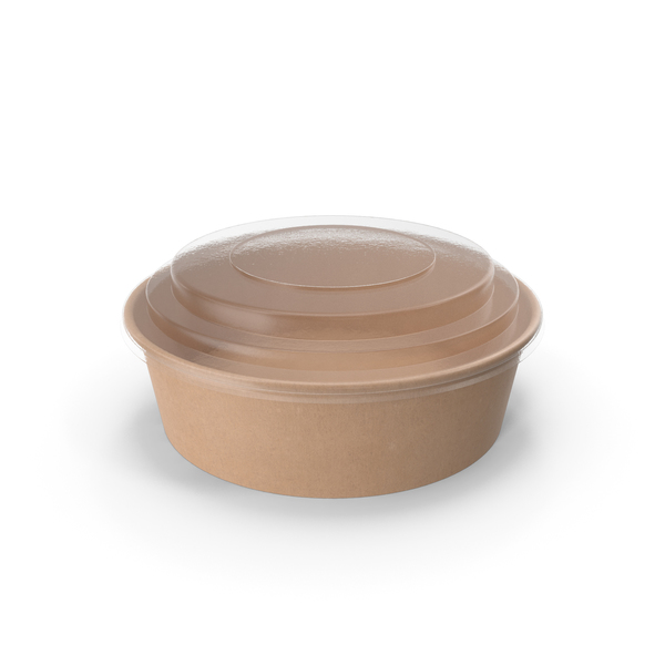 Kraft Paper Food Bowl with Clear Lid for Soup for Salad 20 Oz 500 ml PNG & PSD Images