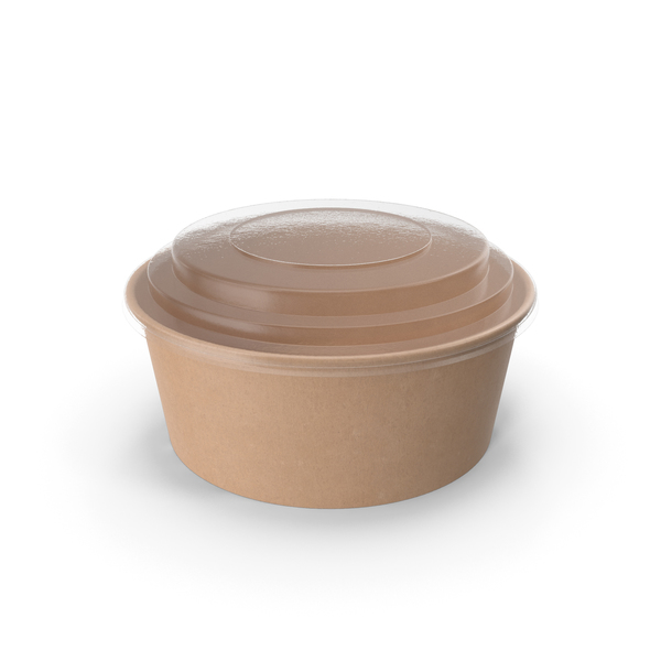 Kraft Paper Food Bowl with Clear Lid for Soup for Salad 26 Oz 750 ml PNG & PSD Images