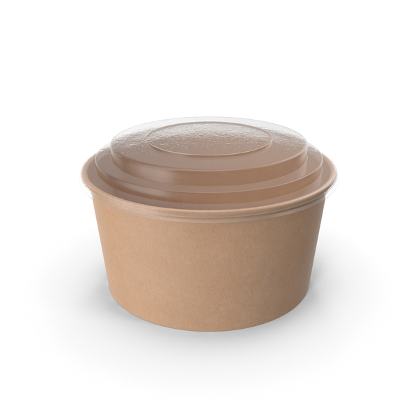 Kraft Paper Food Bowl with Clear Lid for Soup for Salad 32 oz 1000 ml PNG & PSD Images