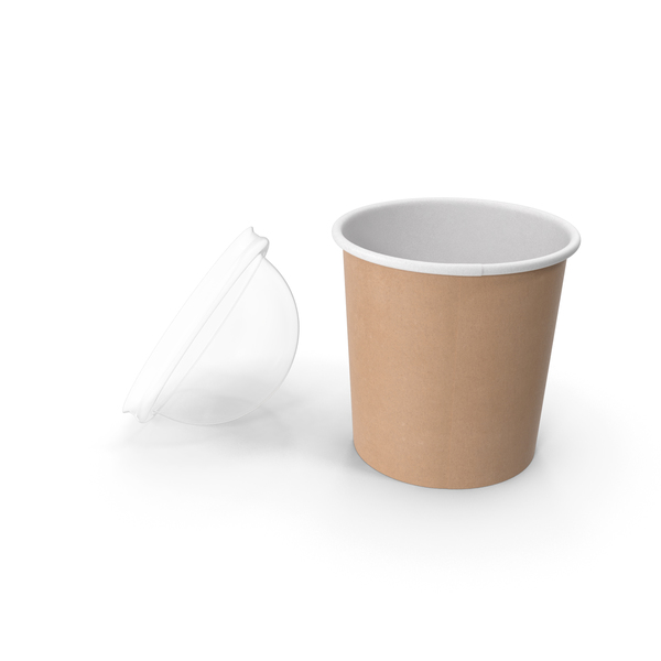 Takeaway Container: Kraft Paper Food Cup with Clear Lid for Dessert 12 Oz 300 ml Open PNG & PSD Images
