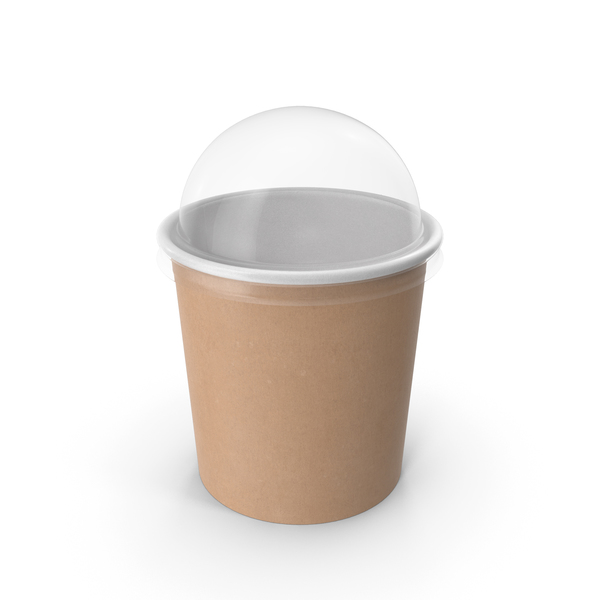 Takeaway Container: Kraft Paper Food Cup with Clear Lid for Dessert 12 Oz 300 ml PNG & PSD Images