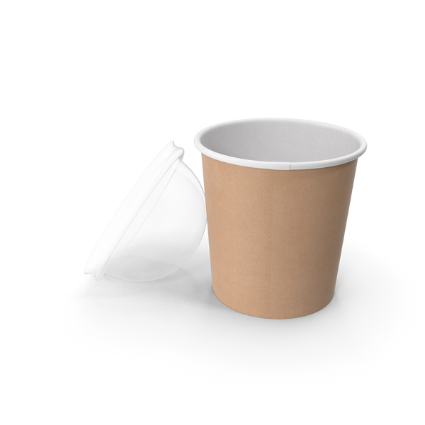 Kraft Paper Food Cup with Clear Lid for Dessert 16 Oz 450 ml Open PNG & PSD Images