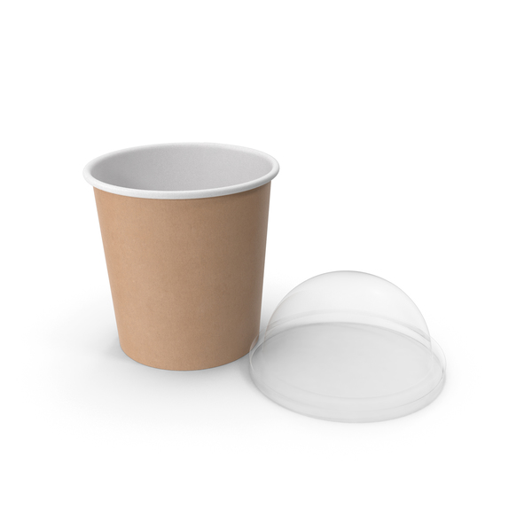 Takeaway Container: Kraft Paper Food Cup with Clear Lid for Dessert 16 Oz 450 ml Open PNG & PSD Images