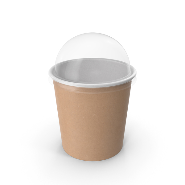 Takeaway Container: Kraft Paper Food Cup with Clear Lid for Dessert 16 Oz 450 ml PNG & PSD Images