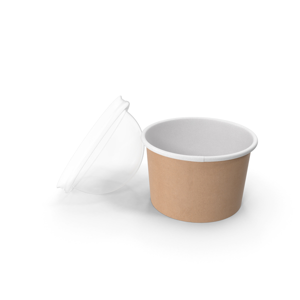 Takeaway Container: Kraft Paper Food Cup with Clear Lid for Dessert 6 Oz 150 ml Open PNG & PSD Images