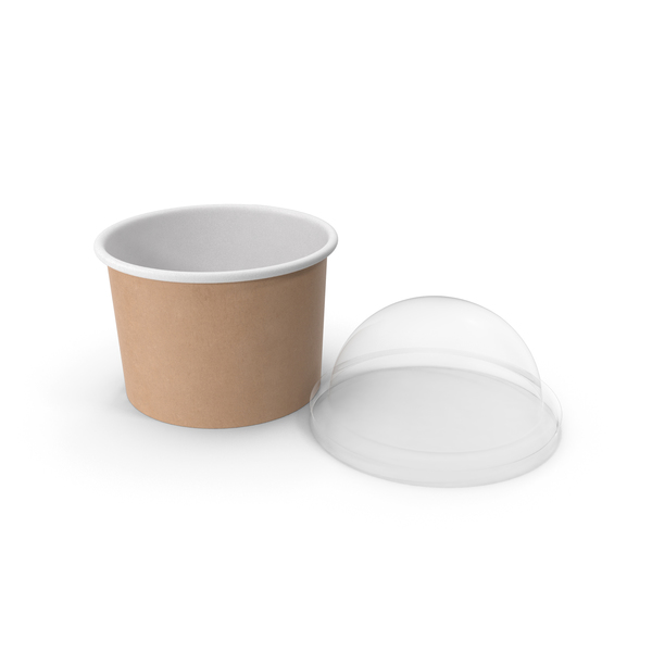 Takeaway Container: Kraft Paper Food Cup with Clear Lid for Dessert 8 Oz 200 ml Open PNG & PSD Images