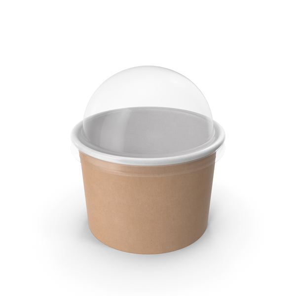 Takeaway Container: Kraft Paper Food Cup with Clear Lid for Dessert 8 Oz 200 ml PNG & PSD Images