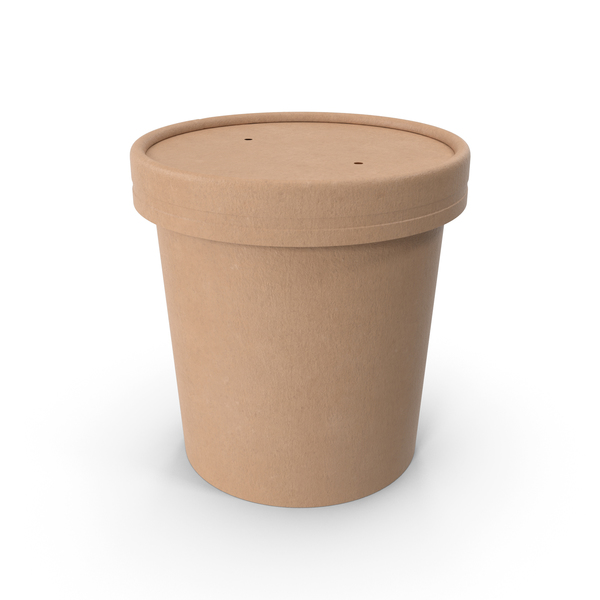 Kraft Paper Food Cup with Vented Lid Disposable Ice Cream Bucket 12 Oz 300 ml PNG & PSD Images