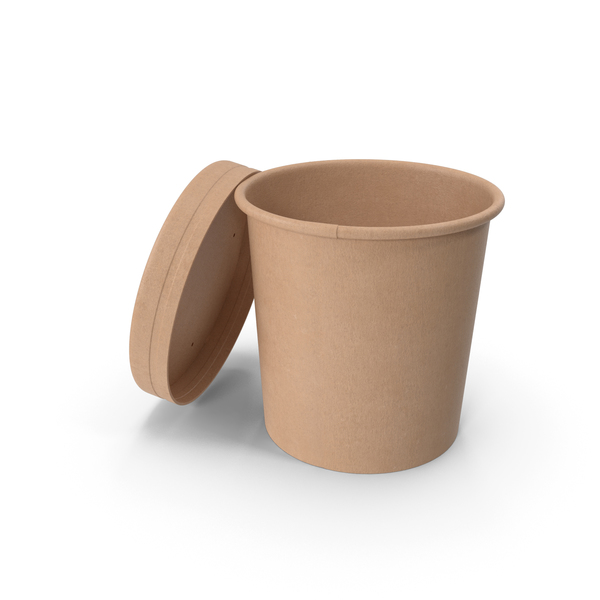 Kraft Paper Food Cup with Vented Lid Disposable Ice Cream Bucket 12 Oz 300 ml Open PNG & PSD Images