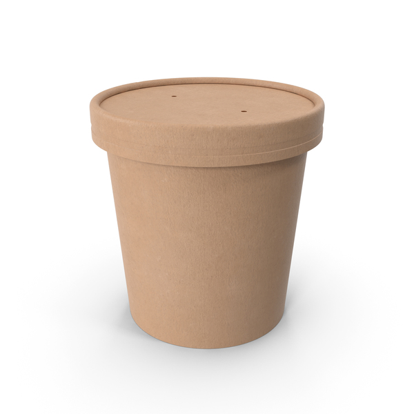 Kraft Paper Food Cup with Vented Lid Disposable Ice Cream Bucket 16 Oz 450 ml PNG & PSD Images