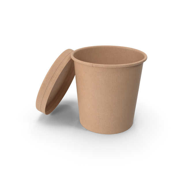Kraft Paper Food Cup with Vented Lid Disposable Ice Cream Bucket 16 Oz 450 ml Open PNG & PSD Images