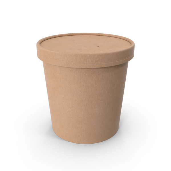Kraft Paper Food Cup with Vented Lid Disposable Ice Cream Bucket 26 Oz 750 ml PNG & PSD Images
