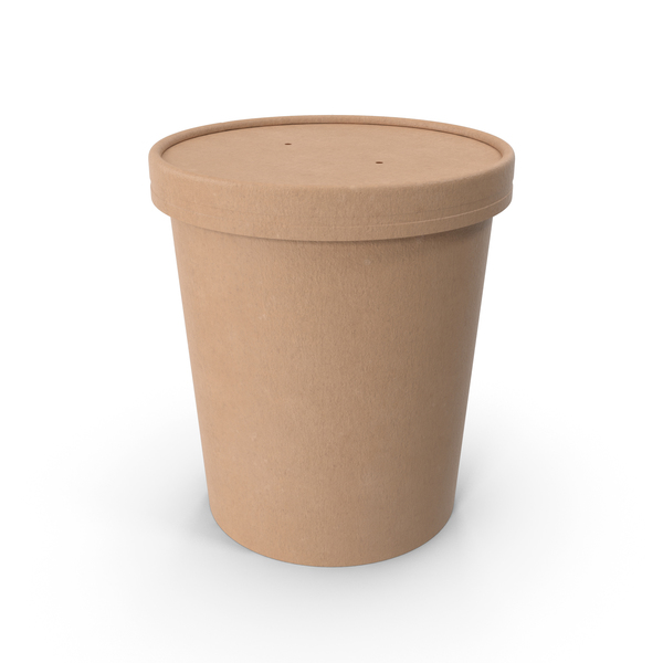 Kraft Paper Food Cup with Vented Lid Disposable Ice Cream Bucket 32 Oz 900 ml PNG & PSD Images