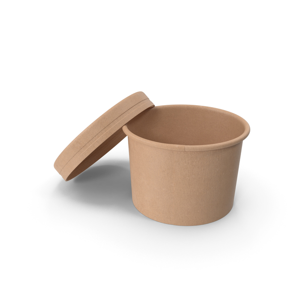 Kraft Paper Food Cup with Vented Lid Disposable Ice Cream Bucket 8 Oz 200 ml Open PNG & PSD Images