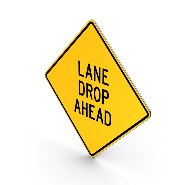 Lane Drop Ahead Road Sign PNG & PSD Images