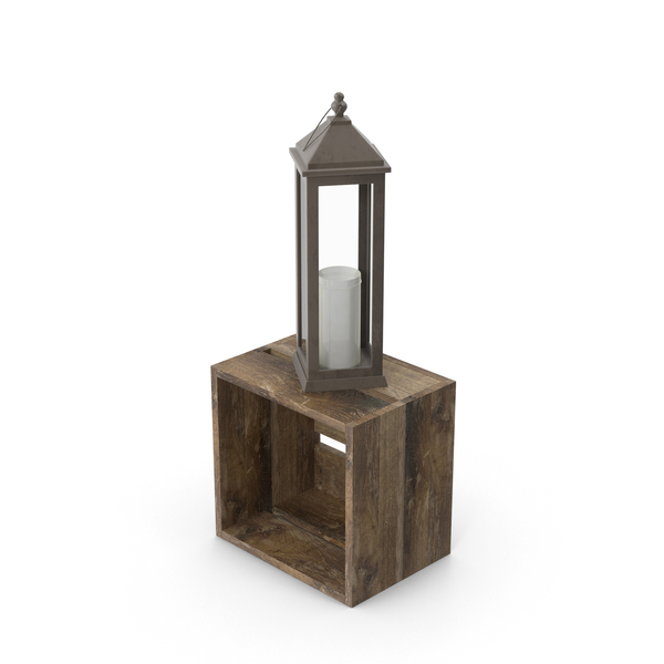 Lantern on Wooden Crate PNG & PSD Images
