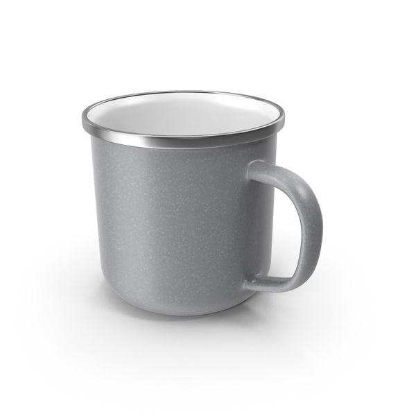 Coffee Cup: Large Light Grey Enamel Mug PNG & PSD Images