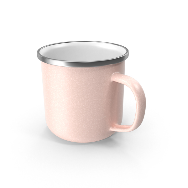 Coffee Cup: Large Light Pink Enamel Mug PNG & PSD Images