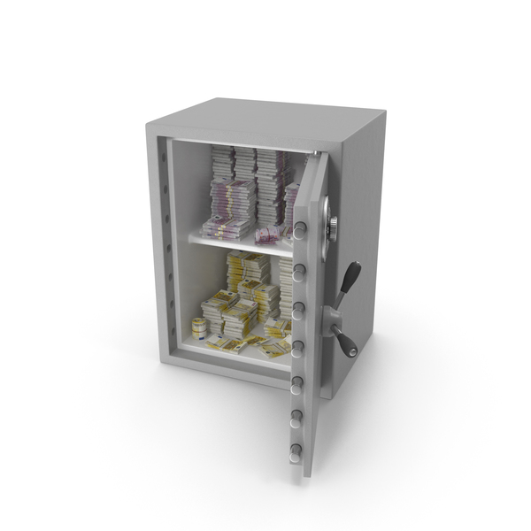 Large Safe with Euro Stacks PNG & PSD Images