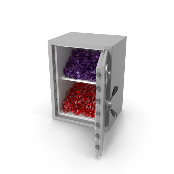 Bank Vault: Large Safe with Ruby and Amethyst Gems PNG & PSD Images