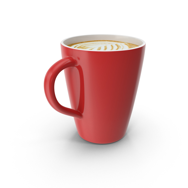 Latte Red Mug PNG & PSD Images