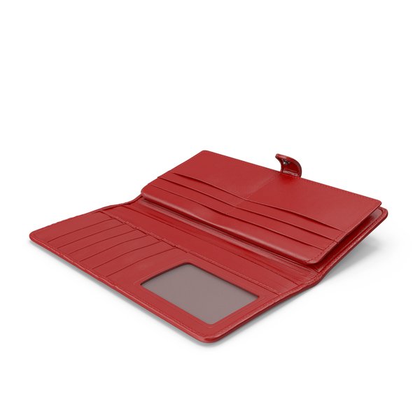Leather Women Long Wallet Open Red PNG & PSD Images