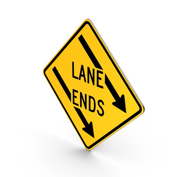 Left Lane Ends Maryland Road Sign PNG & PSD Images
