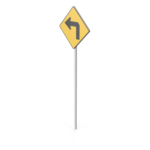 Left Turn Road Sign PNG & PSD Images