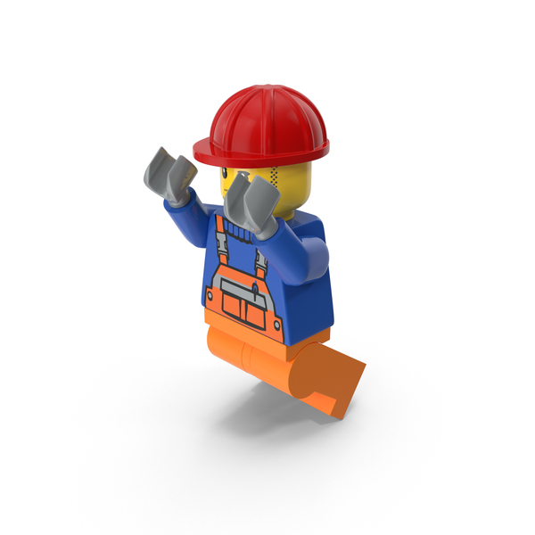 Lego Worker Jumping PNG & PSD Images