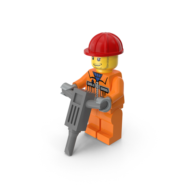 Lego Worker Pneumatic Hammer Object
