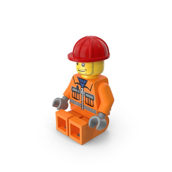 Lego Worker Sitting PNG & PSD Images