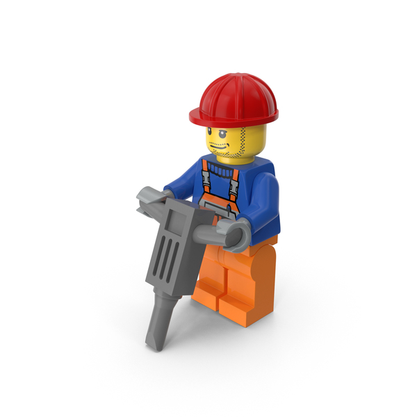 Lego Worker with Pneumatic Hammer PNG & PSD Images