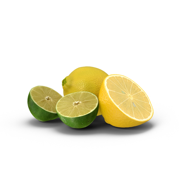 Lemon and Halved Lime PNG & PSD Images