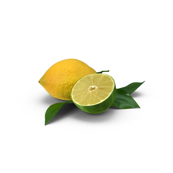 Lemon and Sliced Lime PNG & PSD Images