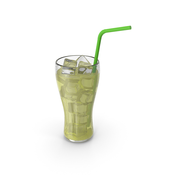 Lemonade Glass Juice With Tube PNG & PSD Images