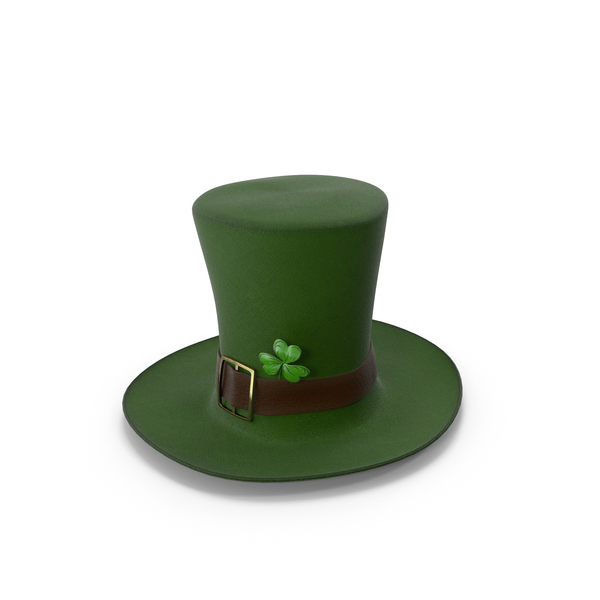 Leprechaun Hat With Clover Dark PNG & PSD Images