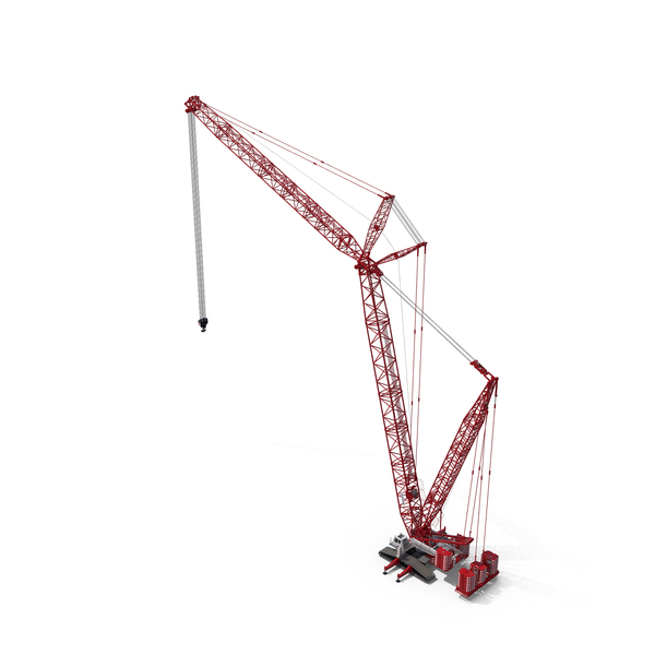 Liebherr LR 1600 2 Crawler Crane 01 Boom and Luffing Jib 49m Red with White Cabin PNG & PSD Images