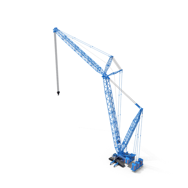 Industrial Equipment: Liebherr LR 1600 2 Crawler Crane Boom and Luffing Jib 49m Blue PNG & PSD Images